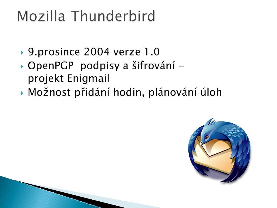  9.prosince 2004 verze 1.0  OpenPGP podpisy a šifrování - projekt Enigmail  Možnost přidání hodin, plánování úloh