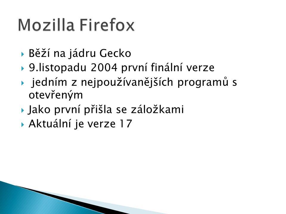  Běží na jádru Gecko  9.listopadu 2004 první finální verze  jedním z nejpoužívanějších programů s otevřeným  Jako první přišla se záložkami  Aktuální je verze 17