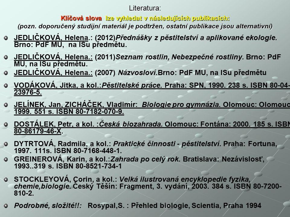 Literatura: Klíčová slova lze vyhledat v následujících publikacích: (pozn.