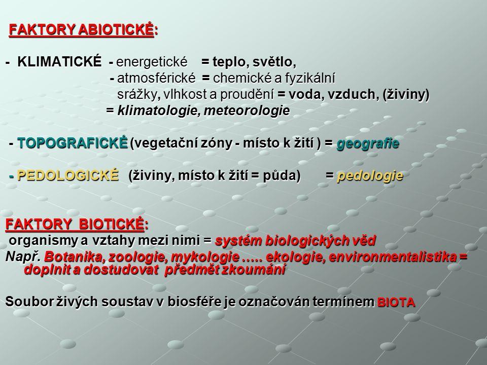 FAKTORY ABIOTICKÉ: FAKTORY ABIOTICKÉ: - KLIMATICKÉ - energetické = teplo, světlo, - atmosférické = chemické a fyzikální - atmosférické = chemické a fyzikální srážky, vlhkost a proudění = voda, vzduch, (živiny) srážky, vlhkost a proudění = voda, vzduch, (živiny) = klimatologie, meteorologie = klimatologie, meteorologie - TOPOGRAFICKÉ (vegetační zóny - místo k žití ) = geografie - TOPOGRAFICKÉ (vegetační zóny - místo k žití ) = geografie - PEDOLOGICKÉ (živiny, místo k žití = půda) = pedologie - PEDOLOGICKÉ (živiny, místo k žití = půda) = pedologie FAKTORY BIOTICKÉ: organismy a vztahy mezi nimi = systém biologických věd organismy a vztahy mezi nimi = systém biologických věd Např.