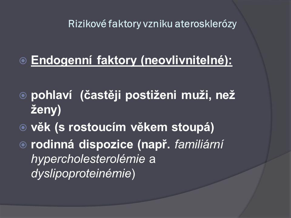 Rizikové faktory vzniku aterosklerózy  Endogenní faktory (neovlivnitelné):  pohlaví (častěji postiženi muži, než ženy)  věk (s rostoucím věkem stou