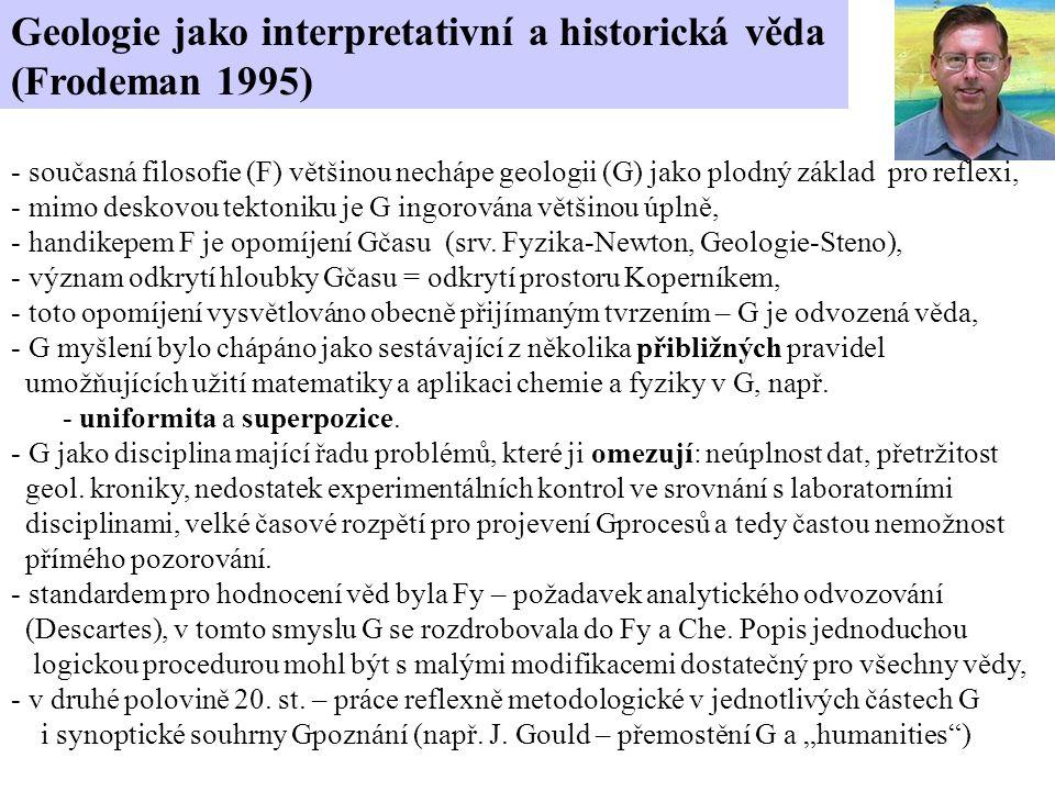 Geologie jako interpretativní a historická věda (Frodeman 1995) - současná filosofie (F) většinou nechápe geologii (G) jako plodný základ pro reflexi, - mimo deskovou tektoniku je G ingorována většinou úplně, - handikepem F je opomíjení Gčasu (srv.