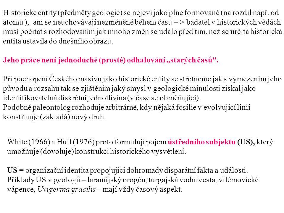 Historické entity (předměty geologie) se nejeví jako plně formované (na rozdíl např.