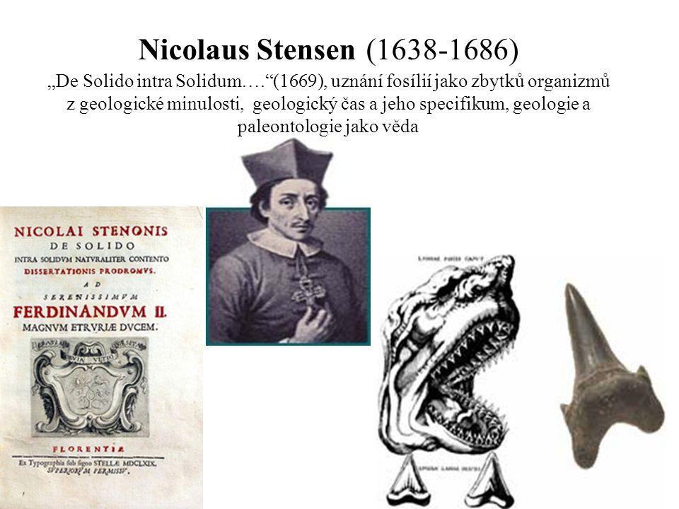 """Nicolaus Stensen (1638-1686) """"De Solido intra Solidum…. (1669), uznání fosílií jako zbytků organizmů z geologické minulosti, geologický čas a jeho specifikum, geologie a paleontologie jako věda"""