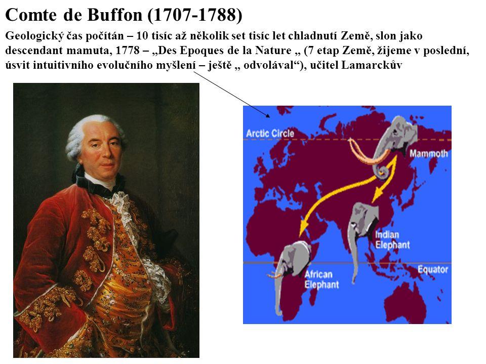 """Comte de Buffon (1707-1788) Geologický čas počítán – 10 tisíc až několik set tisíc let chladnutí Země, slon jako descendant mamuta, 1778 – """"Des Epoques de la Nature """" (7 etap Země, žijeme v poslední, úsvit intuitivního evolučního myšlení – ještě """" odvolával ), učitel Lamarckův"""