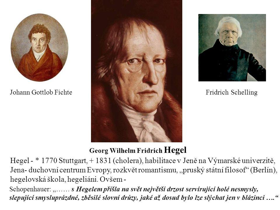 """Johann Gottlob Fichte Fridrich Schelling Georg Wilhelm Fridrich Hegel Hegel - * 1770 Stuttgart, + 1831 (cholera), habilitace v Jeně na Výmarské univerzitě, Jena- duchovní centrum Evropy, rozkvět romantismu, """"pruský státní filosof (Berlín), hegelovská škola, hegeliáni."""