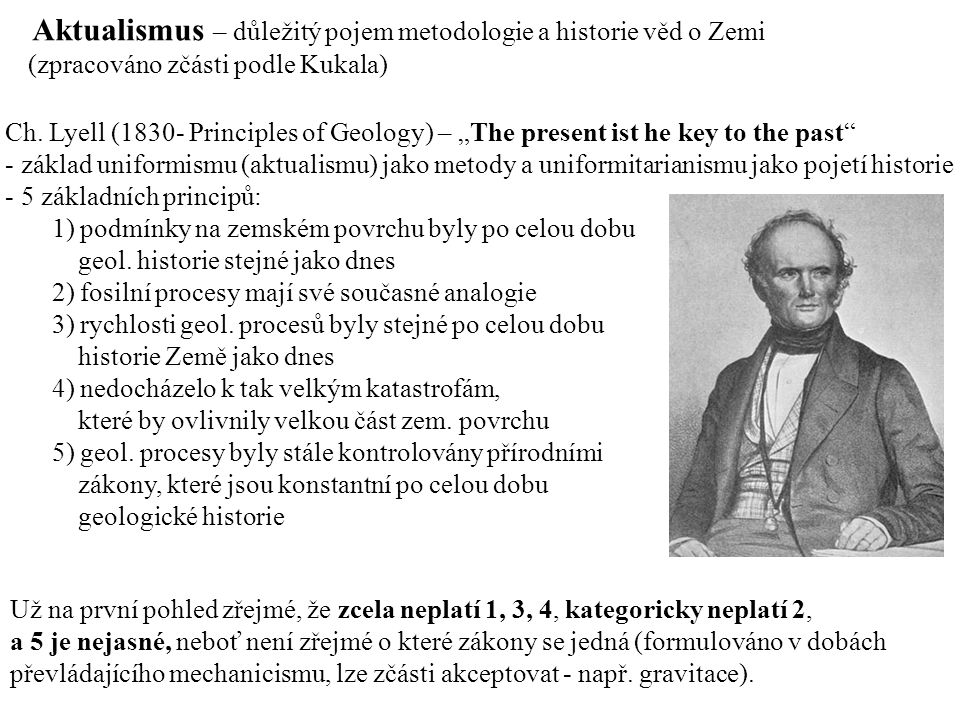 "Aktualismus – důležitý pojem metodologie a historie věd o Zemi Ch. Lyell (1830- Principles of Geology) – ""The present ist he key to the past"" - základ"