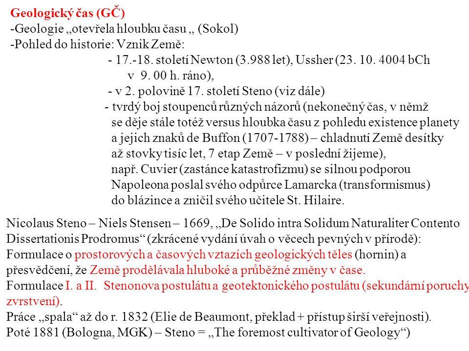 """Geologický čas (GČ) -Geologie """"otevřela hloubku času """" (Sokol) -Pohled do historie: Vznik Země: - 17.-18."""