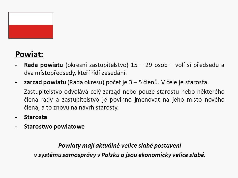 Powiat: -Rada powiatu (okresní zastupitelstvo) 15 – 29 osob – volí si předsedu a dva místopředsedy, kteří řídí zasedání. -zarzad powiatu (Rada okresu)