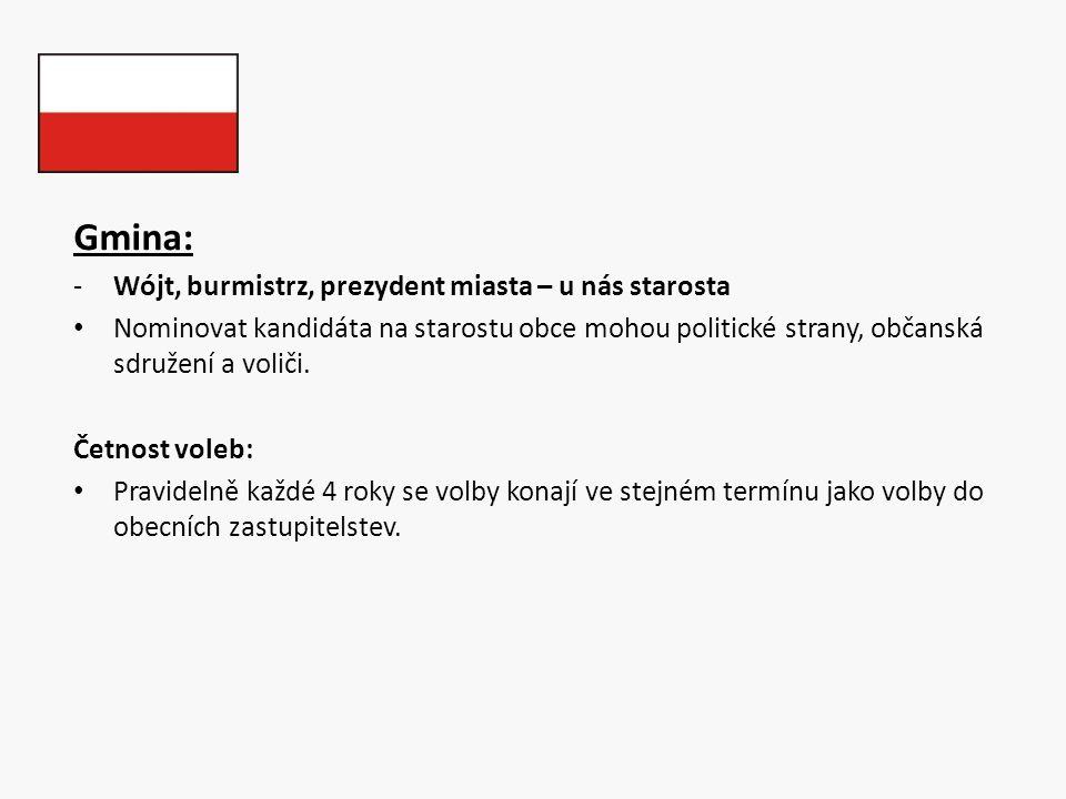 Gmina: -Wójt, burmistrz, prezydent miasta – u nás starosta Nominovat kandidáta na starostu obce mohou politické strany, občanská sdružení a voliči. Če