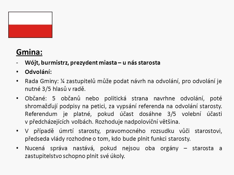 Gmina: -Wójt, burmistrz, prezydent miasta – u nás starosta Odvolání: Rada Gminy: ¼ zastupitelů může podat návrh na odvolání, pro odvolání je nutné 3/5