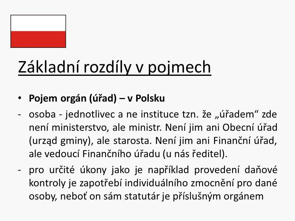 """Základní rozdíly v pojmech Pojem orgán (úřad) – v Polsku -osoba - jednotlivec a ne instituce tzn. že """"úřadem"""" zde není ministerstvo, ale ministr. Není"""