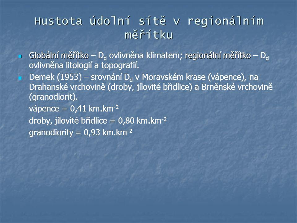 Hustota údolní sítě v regionálním měřítku Globální měřítkoregionální měřítko Globální měřítko – D d ovlivněna klimatem; regionální měřítko – D d ovliv