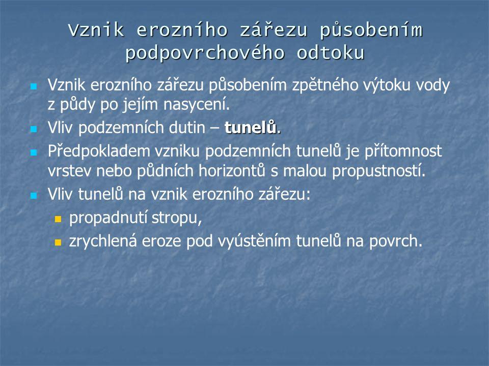 Vznik erozního zářezu působením podpovrchového odtoku Vznik erozního zářezu působením zpětného výtoku vody z půdy po jejím nasycení. tunelů. Vliv podz