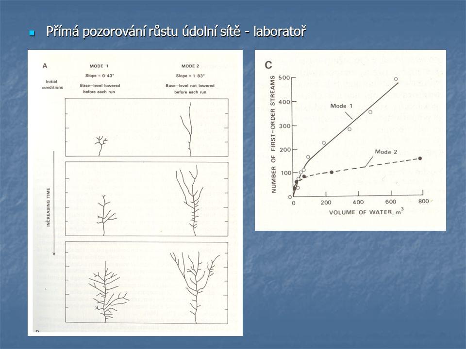 Přímá pozorování růstu údolní sítě - laboratoř Přímá pozorování růstu údolní sítě - laboratoř
