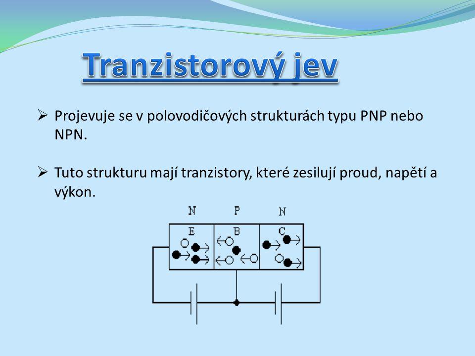  Projevuje se v polovodičových strukturách typu PNP nebo NPN.