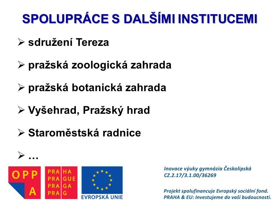 SPOLUPRÁCE S DALŠÍMI INSTITUCEMI  sdružení Tereza  pražská zoologická zahrada  pražská botanická zahrada  Vyšehrad, Pražský hrad  Staroměstská ra