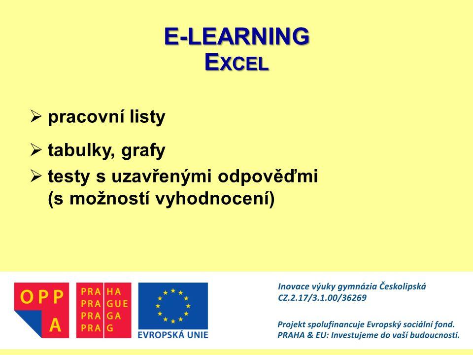 E-LEARNING E XCEL  pracovní listy  tabulky, grafy  testy s uzavřenými odpověďmi (s možností vyhodnocení)
