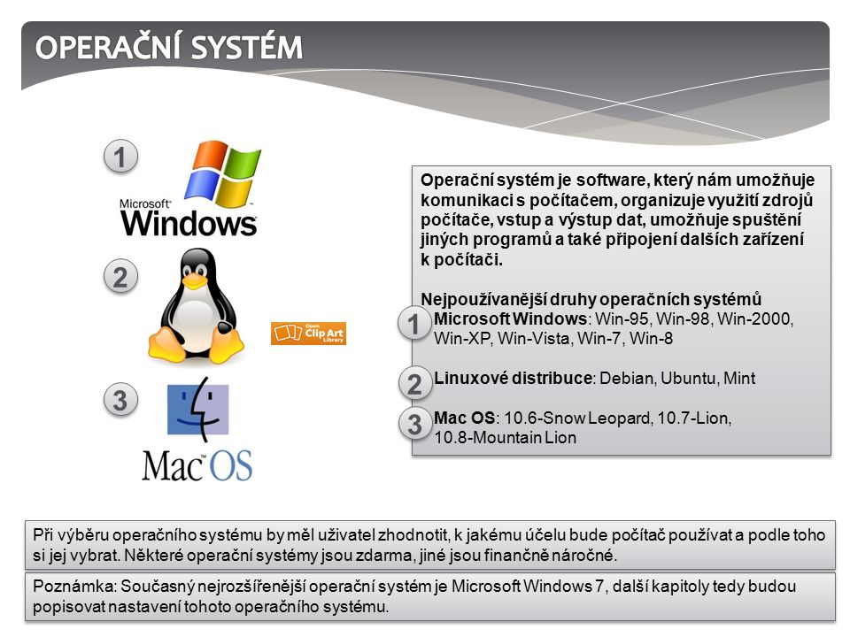 Operační systém je software, který nám umožňuje komunikaci s počítačem, organizuje využití zdrojů počítače, vstup a výstup dat, umožňuje spuštění jiných programů a také připojení dalších zařízení k počítači.