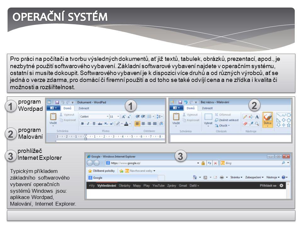 Pro práci na počítači a tvorbu výsledných dokumentů, ať již textů, tabulek, obrázků, prezentací, apod., je nezbytné použití softwarového vybavení.