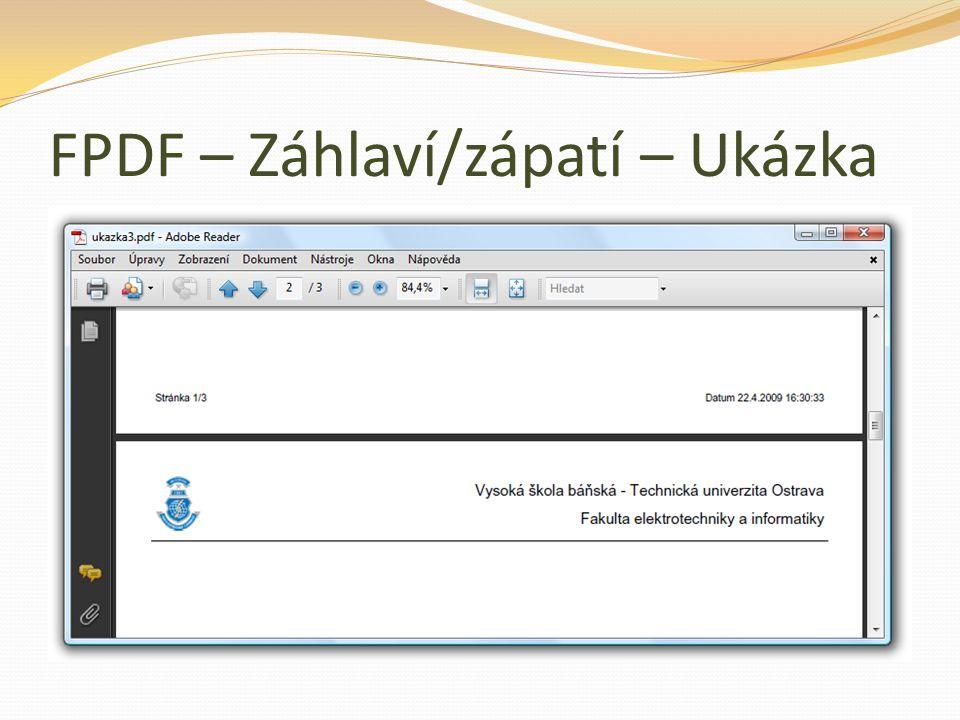 FPDF – Záhlaví/zápatí – Ukázka
