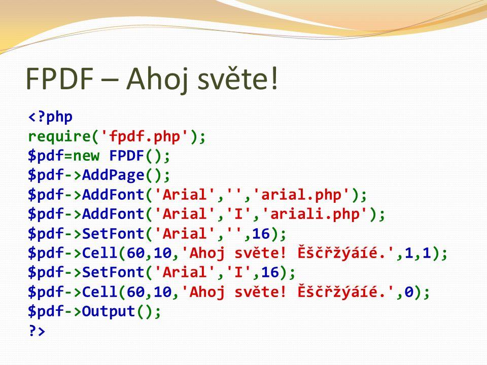 FPDF – Ahoj světe.
