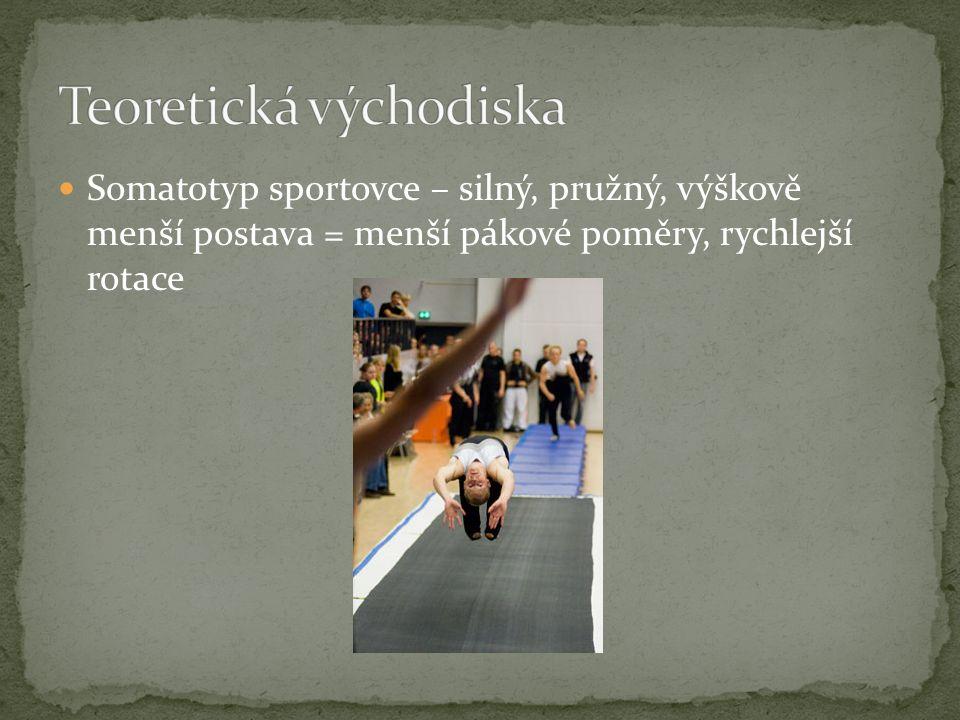 Somatotyp sportovce – silný, pružný, výškově menší postava = menší pákové poměry, rychlejší rotace