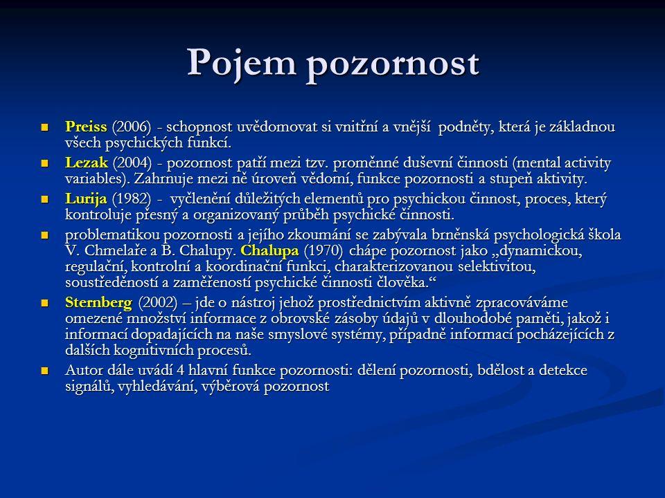 Pojem pozornost Preiss (2006) - schopnost uvědomovat si vnitřní a vnější podněty, která je základnou všech psychických funkcí. Preiss (2006) - schopno