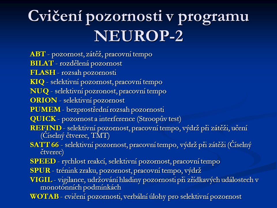 Cvičení pozornosti v programu NEUROP-2 ABT - pozornost, zátěž, pracovní tempo BILAT - rozdělená pozornost FLASH - rozsah pozornosti KIQ - selektivní p