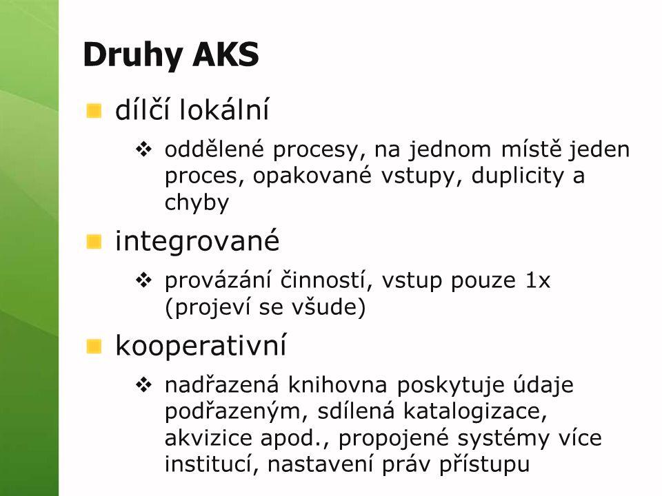 Druhy AKS dílčí lokální  oddělené procesy, na jednom místě jeden proces, opakované vstupy, duplicity a chyby integrované  provázání činností, vstup