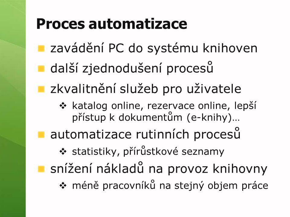 Proces automatizace zavádění PC do systému knihoven další zjednodušení procesů zkvalitnění služeb pro uživatele  katalog online, rezervace online, le