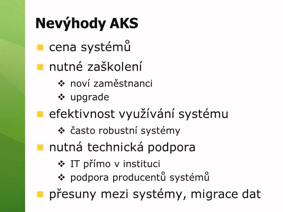 Nevýhody AKS cena systémů nutné zaškolení  noví zaměstnanci  upgrade efektivnost využívání systému  často robustní systémy nutná technická podpora