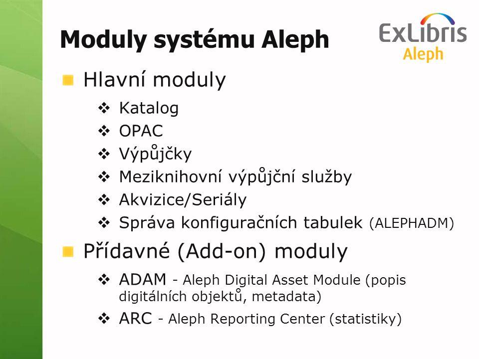 Moduly systému Aleph Hlavní moduly  Katalog  OPAC  Výpůjčky  Meziknihovní výpůjční služby  Akvizice/Seriály  Správa konfiguračních tabulek (ALEP