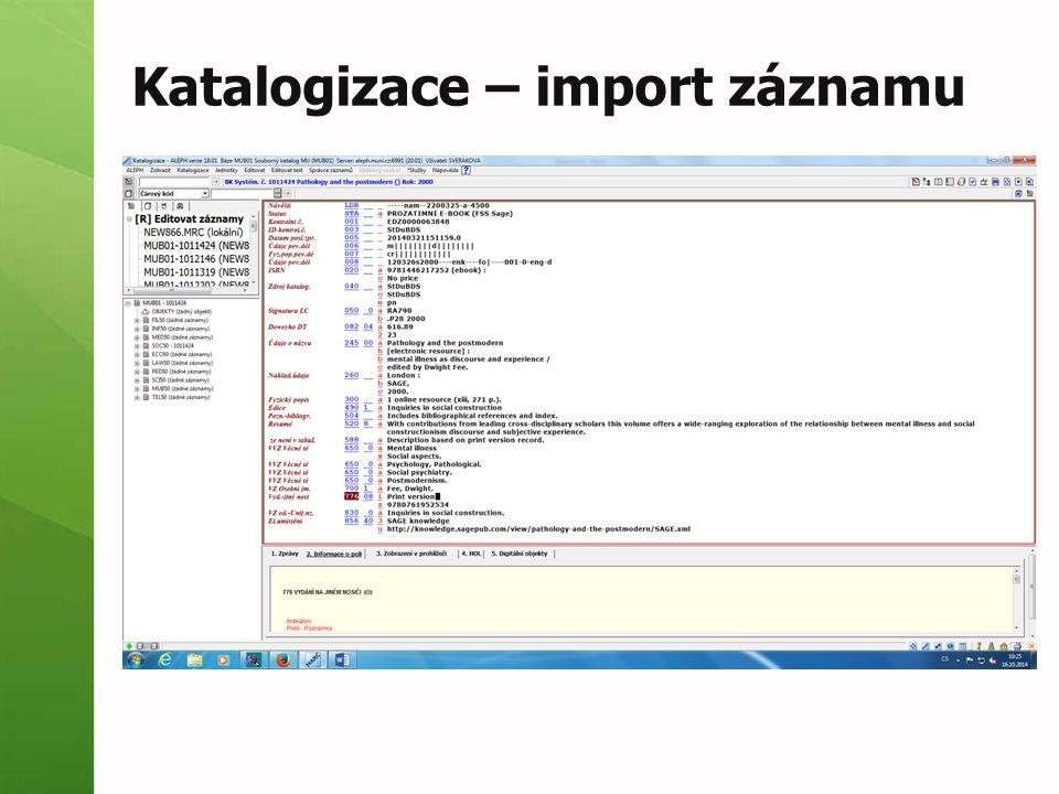Katalogizace – import záznamu