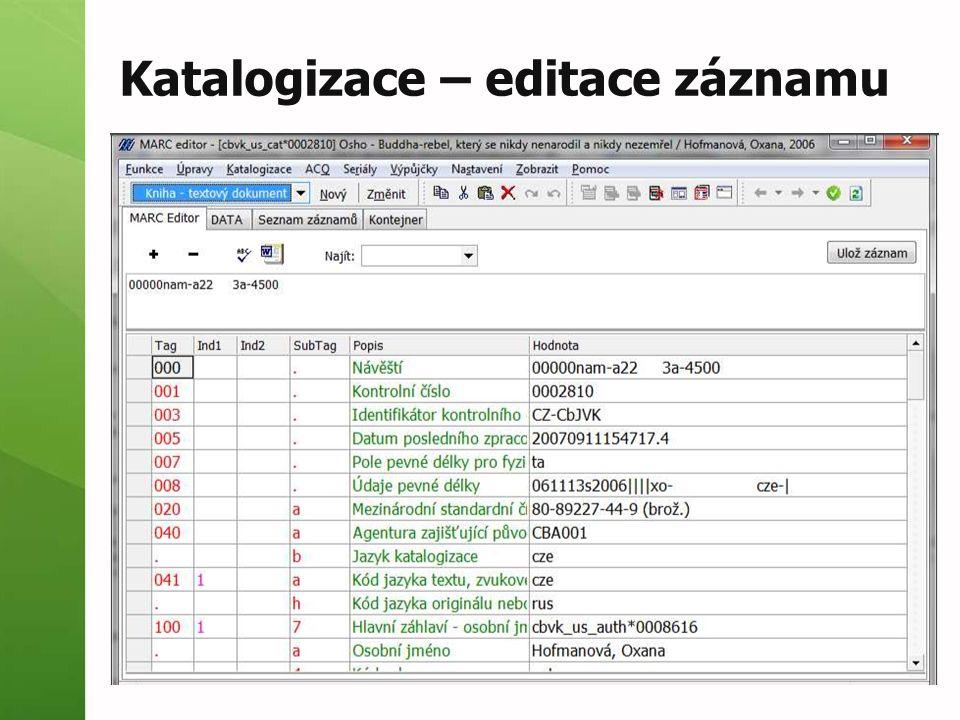Katalogizace – editace záznamu