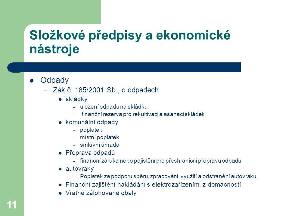 11 Složkové předpisy a ekonomické nástroje Odpady – Zák.č.