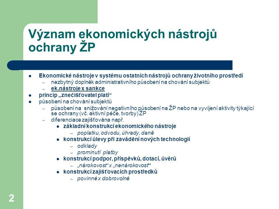 2 Význam ekonomických nástrojů ochrany ŽP Ekonomické nástroje v systému ostatních nástrojů ochrany životního prostředí – nezbytný doplněk administrati