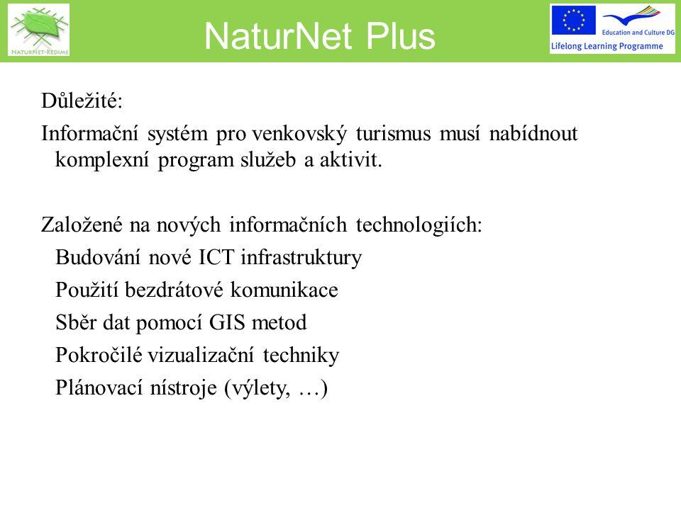 NaturNet Plus REGEO project IST-2001-32336 Multimediální geoinformace pro e-komunity ve venkovských oblastech s eko-turismem