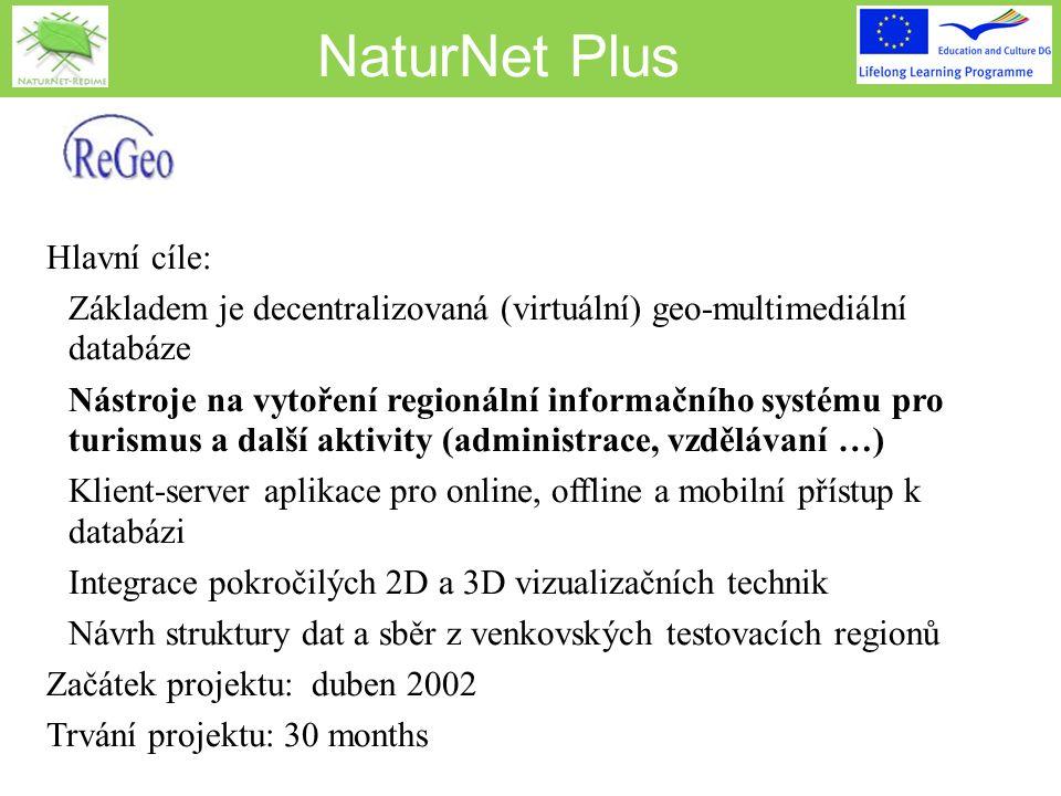 NaturNet Plus Hlavní cíle:  Základem je decentralizovaná (virtuální) geo-multimediální databáze  Nástroje na vytoření regionální informačního systému pro turismus a další aktivity (administrace, vzdělávaní …)  Klient-server aplikace pro online, offline a mobilní přístup k databázi  Integrace pokročilých 2D a 3D vizualizačních technik  Návrh struktury dat a sběr z venkovských testovacích regionů Začátek projektu: duben 2002 Trvání projektu: 30 months