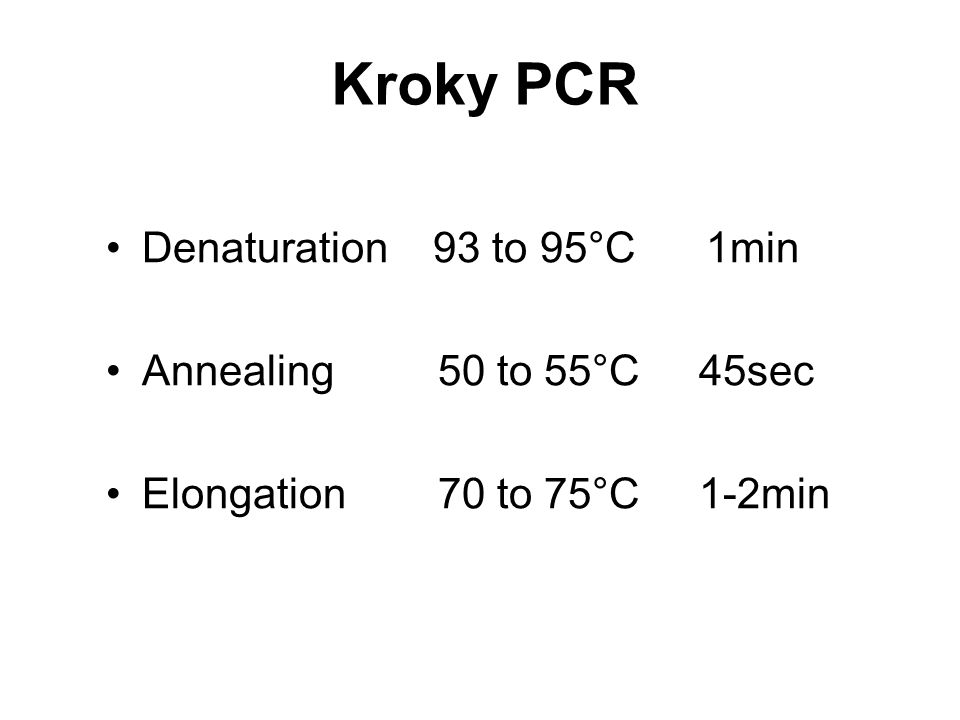 Kroky PCR Denaturation 93 to 95°C 1min Annealing 50 to 55°C 45sec Elongation 70 to 75°C 1-2min
