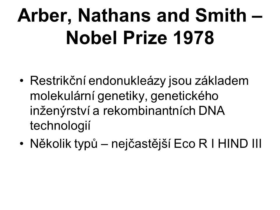 Arber, Nathans and Smith – Nobel Prize 1978 Restrikční endonukleázy jsou základem molekulární genetiky, genetického inženýrství a rekombinantních DNA