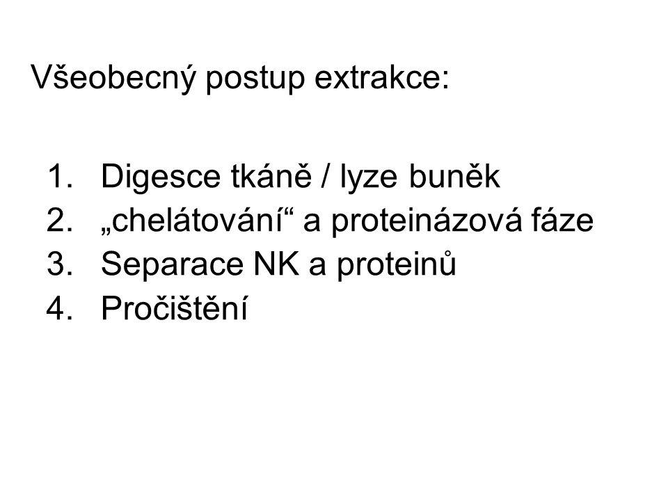 """Všeobecný postup extrakce: 1.Digesce tkáně / lyze buněk 2.""""chelátování"""" a proteinázová fáze 3.Separace NK a proteinů 4.Pročištění"""