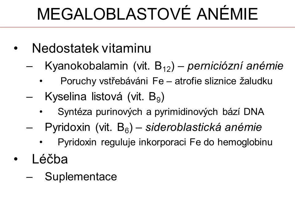 MEGALOBLASTOVÉ ANÉMIE Nedostatek vitaminu –Kyanokobalamin (vit.