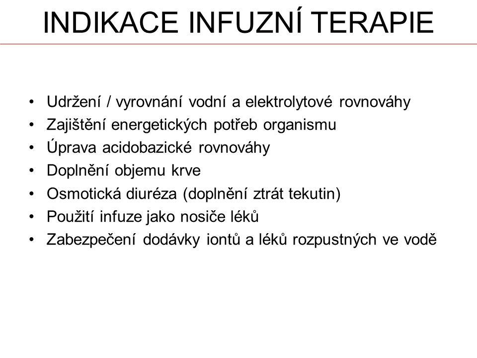 INDIKACE INFUZNÍ TERAPIE Udržení / vyrovnání vodní a elektrolytové rovnováhy Zajištění energetických potřeb organismu Úprava acidobazické rovnováhy Doplnění objemu krve Osmotická diuréza (doplnění ztrát tekutin) Použití infuze jako nosiče léků Zabezpečení dodávky iontů a léků rozpustných ve vodě