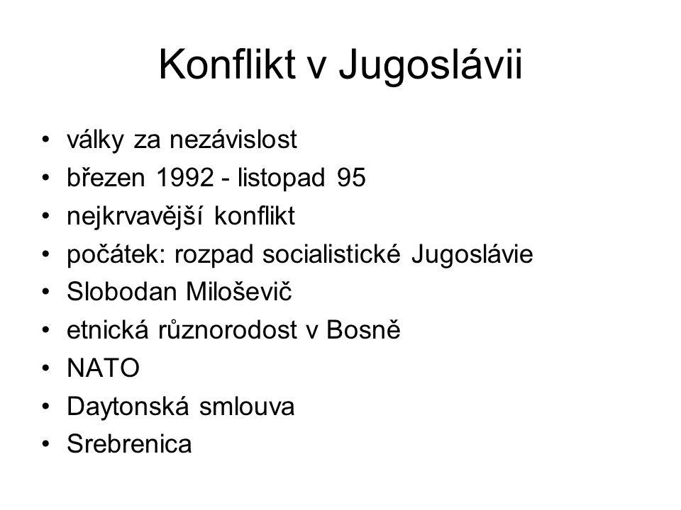 Konflikt v Jugoslávii války za nezávislost březen 1992 - listopad 95 nejkrvavější konflikt počátek: rozpad socialistické Jugoslávie Slobodan Miloševič