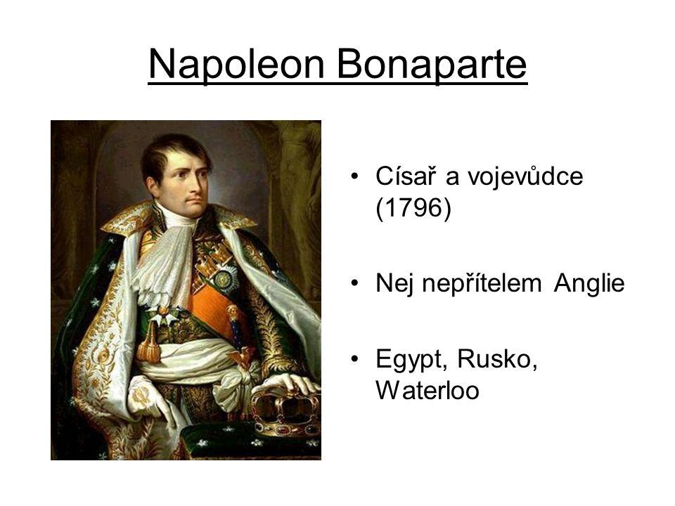 Napoleon Bonaparte Císař a vojevůdce (1796) Nej nepřítelem Anglie Egypt, Rusko, Waterloo