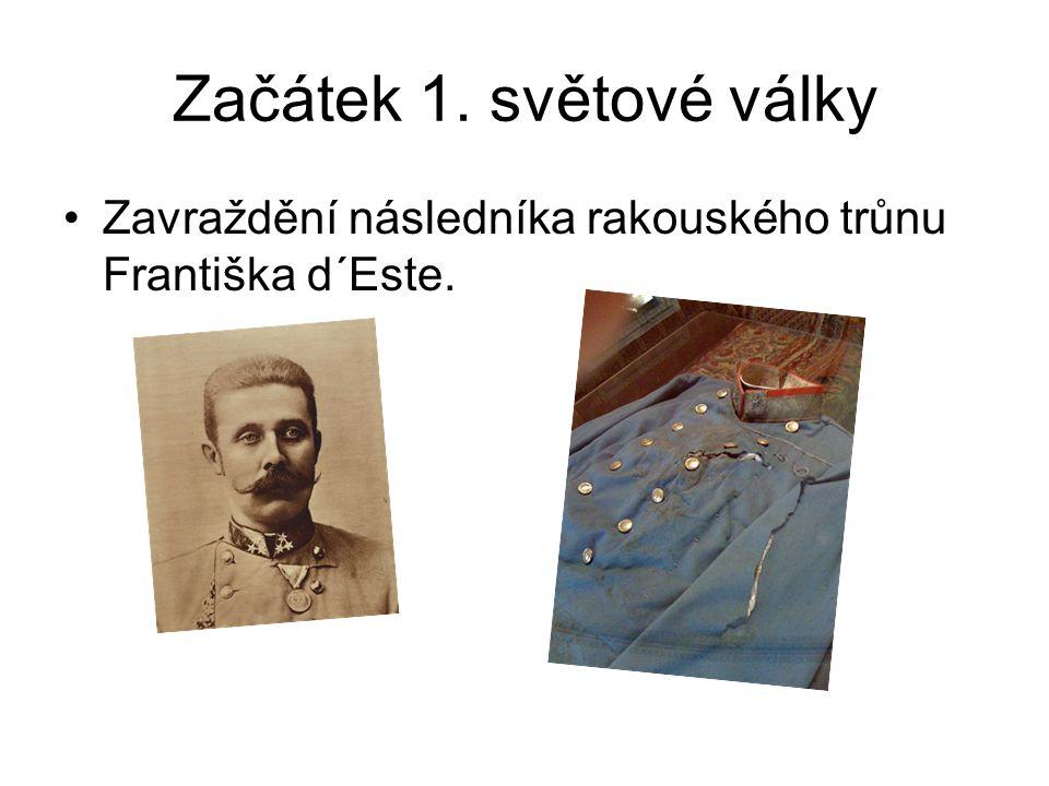 Začátek 1. světové války Útok Rakouska-Uherska na Srbsko a následně zapojování další zemí do války.