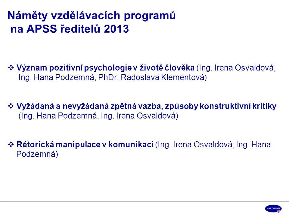 Náměty vzdělávacích programů na APSS ředitelů 2013  Význam pozitivní psychologie v životě člověka (Ing.