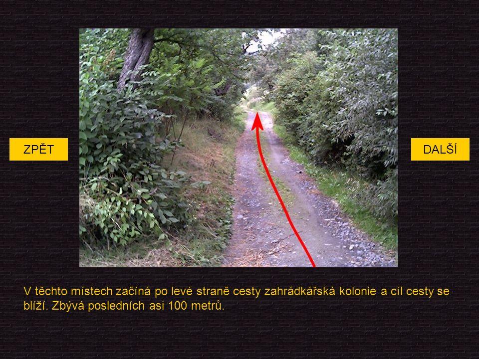 V těchto místech začíná po levé straně cesty zahrádkářská kolonie a cíl cesty se blíží.