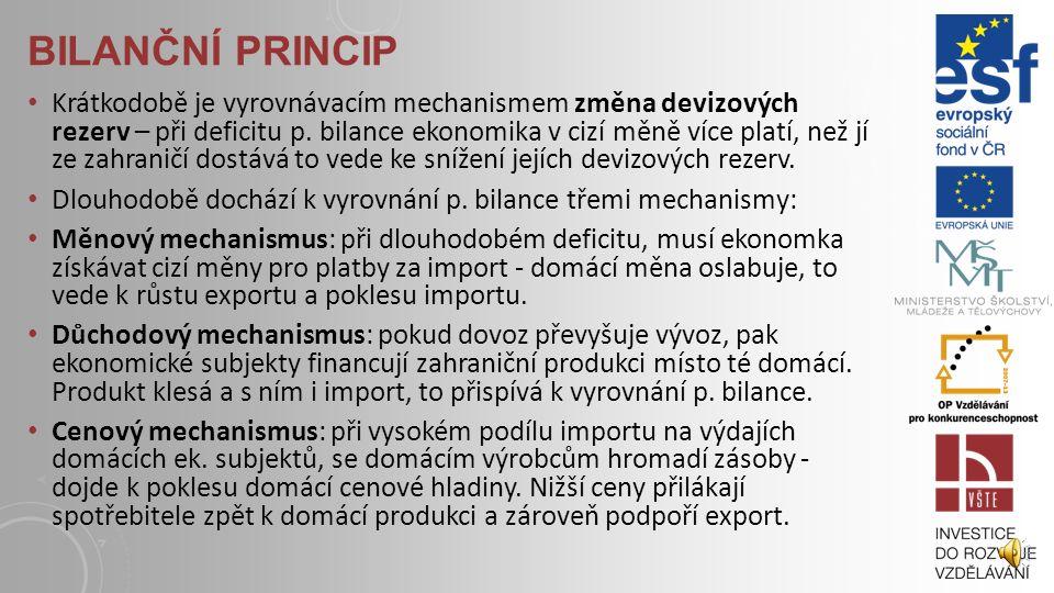 BILANČNÍ PRINCIP Princip platební blance je podobný účetní rozvaze – místo aktiv a pasiv má platební bilance kreditní a debetní položky. Kreditní polo